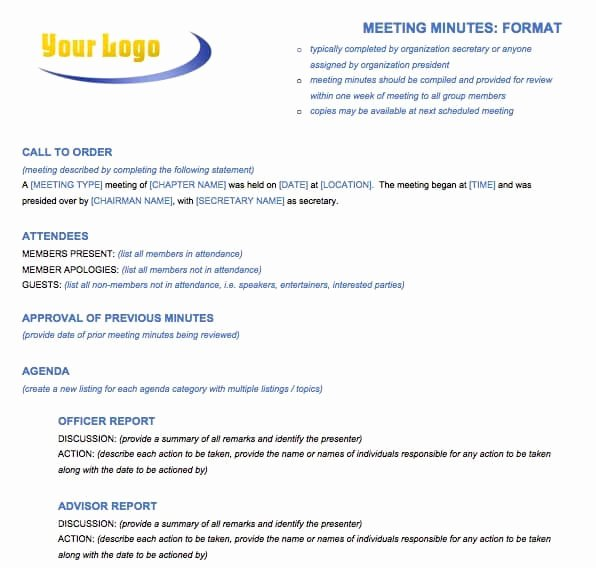 Sample Of Minutes Of Meeting Elegant Free Meeting Minutes Template for Microsoft Word