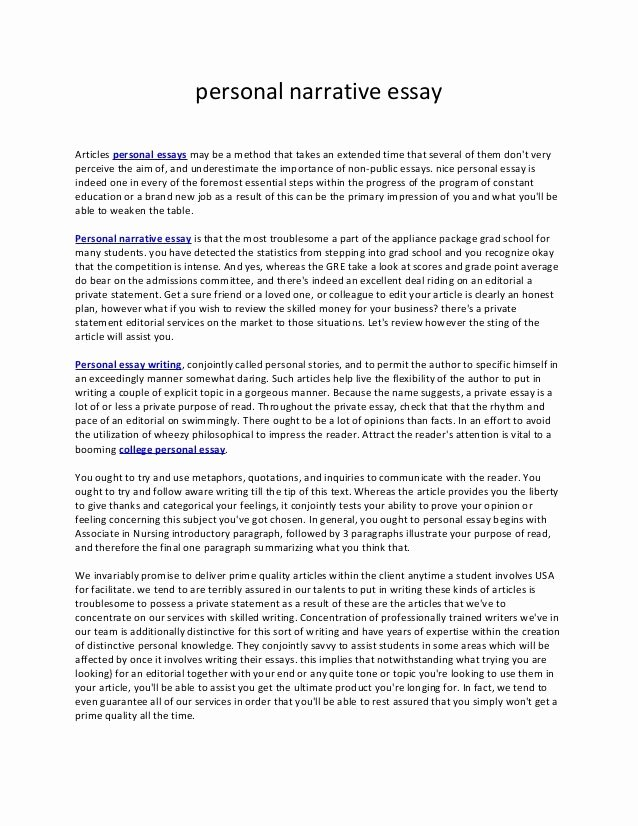 Sample Of Narrative Essay Luxury Example Of Narrative Essay About Family Personal