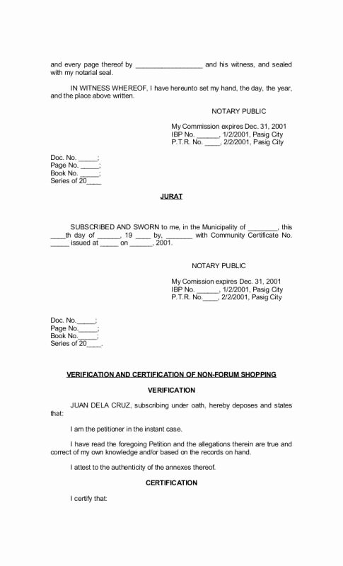 Sample Of Notarized Document Inspirational Example Notarized Document