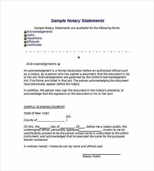 Sample Of Notarized Document Lovely 10 Sample Notarized Letters Pdf Word