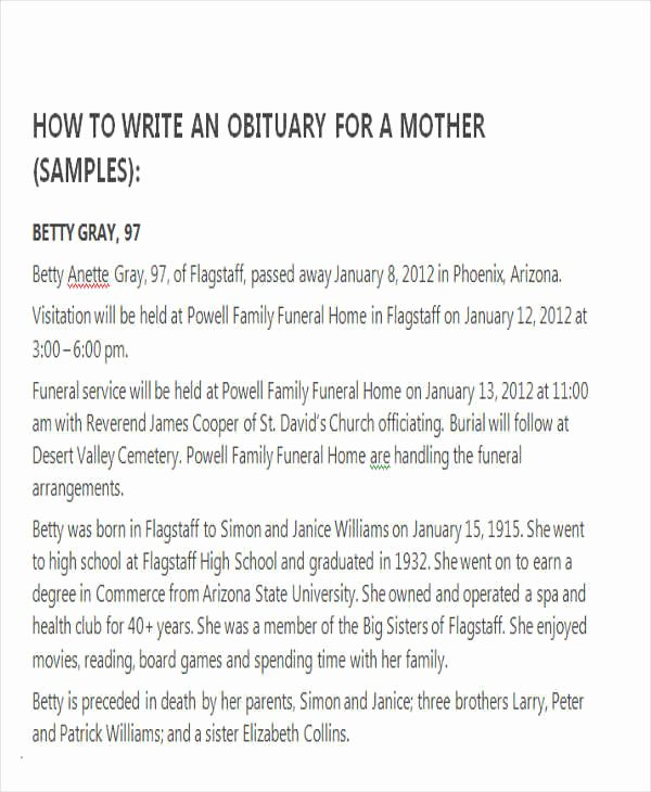 Sample Of Obituaries for Mother Best Of Sample Obituary for Mother