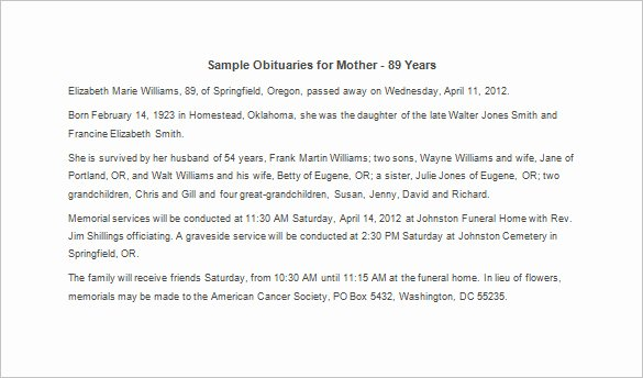 Sample Of Obituaries for Mother New Sample Obituary for Mother