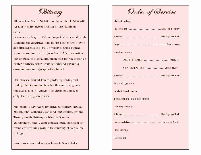 Sample Of Obituaries for Mother Unique Floral Art Single Fold Memorial Program Funeral Pamphlets