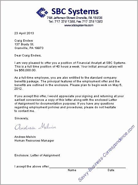 Sample Of Offer Letter Fresh A Job Offer Letter format Business Letters