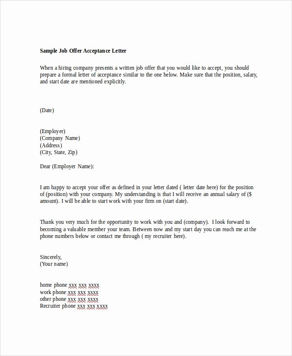 Sample Of Offer Letter Inspirational Sample Job Fer Letter 8 Examples In Word Pdf