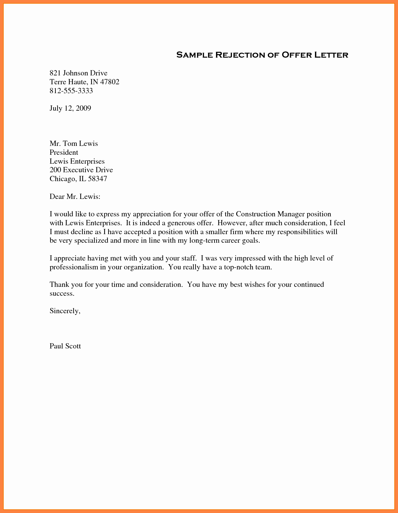 Sample Of Offer Letter Lovely 5 Job Offer Rejection Letter