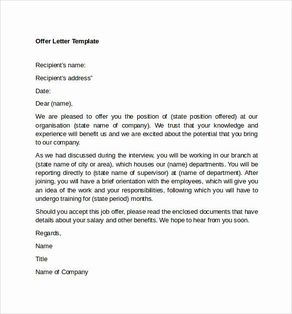Sample Of Offer Letter New Sample Fer Letter Template 14 Free Examples format