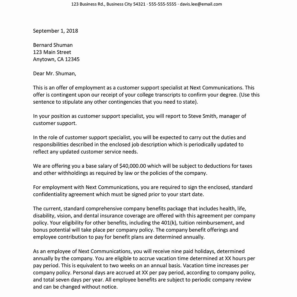 Sample Of Offer Letters Awesome Sample Job Fer Letter Suited for Most Jobs
