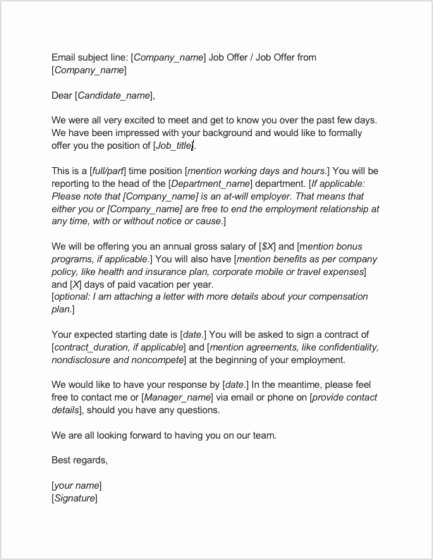 Sample Of Offer Letters Best Of 8 Job Offer Letter Templates for Every Circumstance Plus