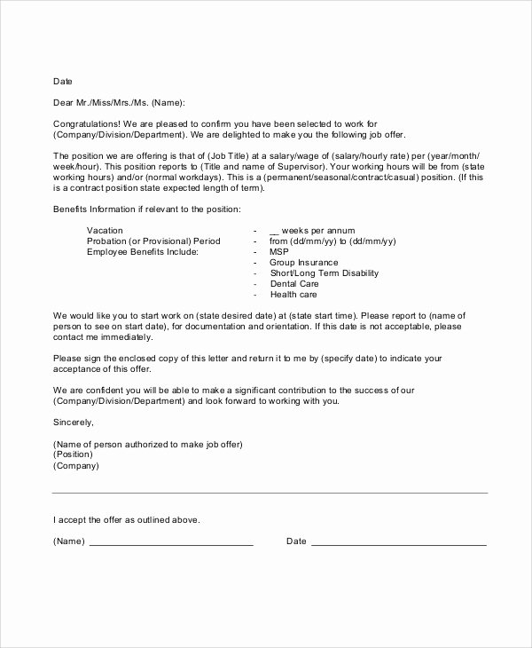 Sample Of Offer Letters Best Of Sample Employment Fer Letter 5 Documents In Pdf Word