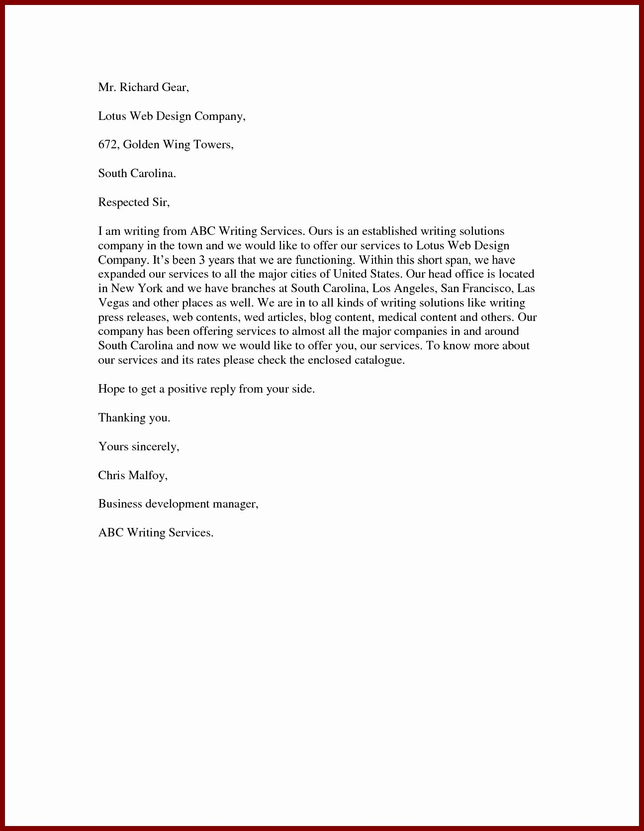 Sample Of Offer Letters Elegant Proposal Letter to Fer Services
