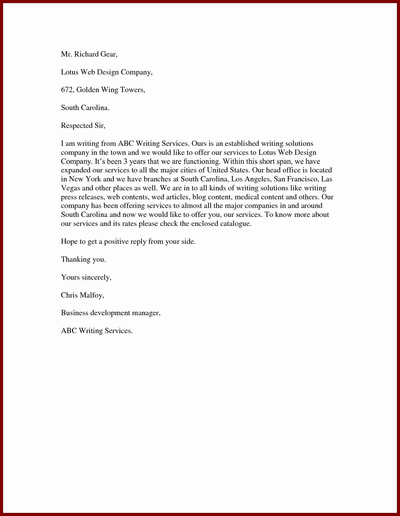 Sample Of Offer Letters Elegant Proposal Letter to Fer Services