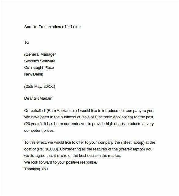 Sample Of Offer Letters Inspirational Sample Fer Letter Template 14 Free Examples format