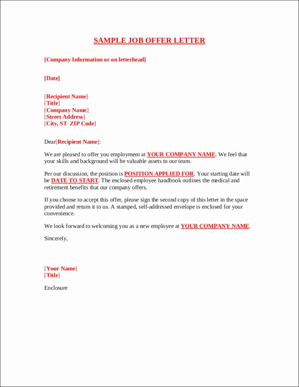 Sample Of Offer Letters Lovely Job Fer Acceptance Letters—tips Examples and Guide