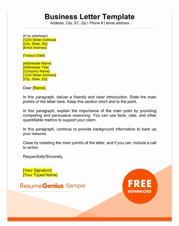 Sample Of Official Letter Unique Sample Business Letter format 75 Free Letter Templates