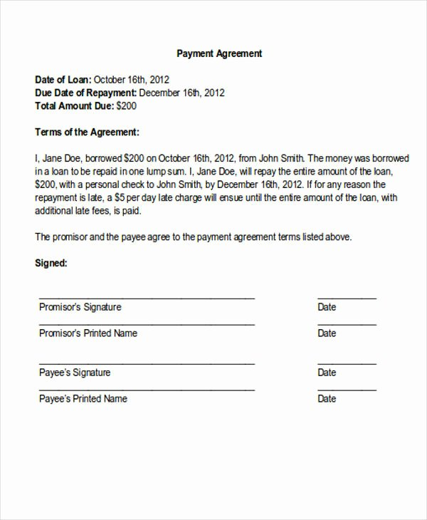 Sample Of Payment Plan Agreement Lovely 36 Payment Letter formats