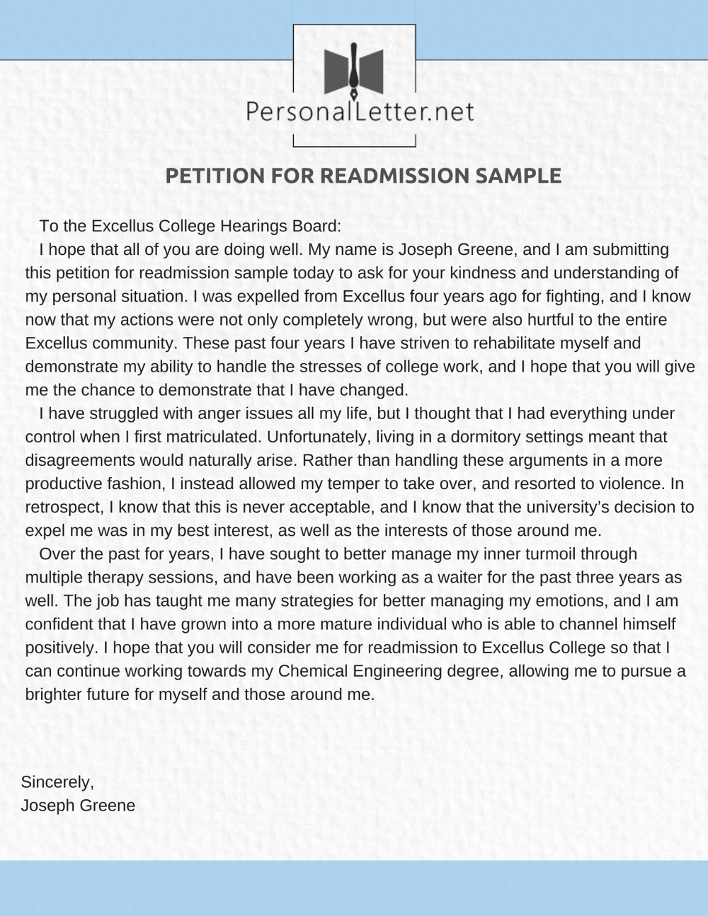 Sample Of Petition Letter Unique Petition for Readmission Sample Letter