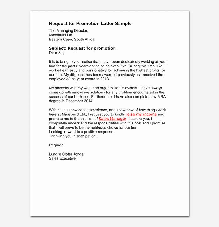 Sample Of Promotion Letters Elegant Promotion Request Letter 12 Sample Letters & format