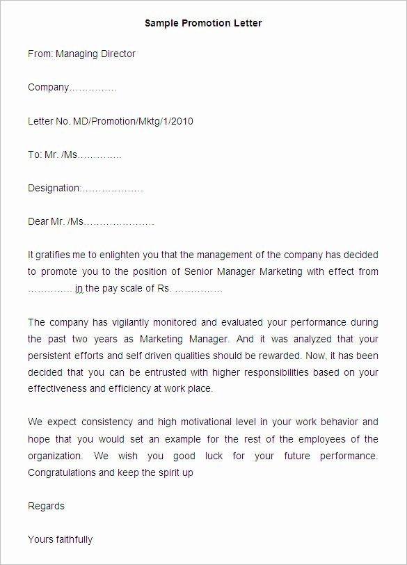 Sample Of Promotion Letters Inspirational 20 Promotion Letter Templates Pdf Doc Apple Pages