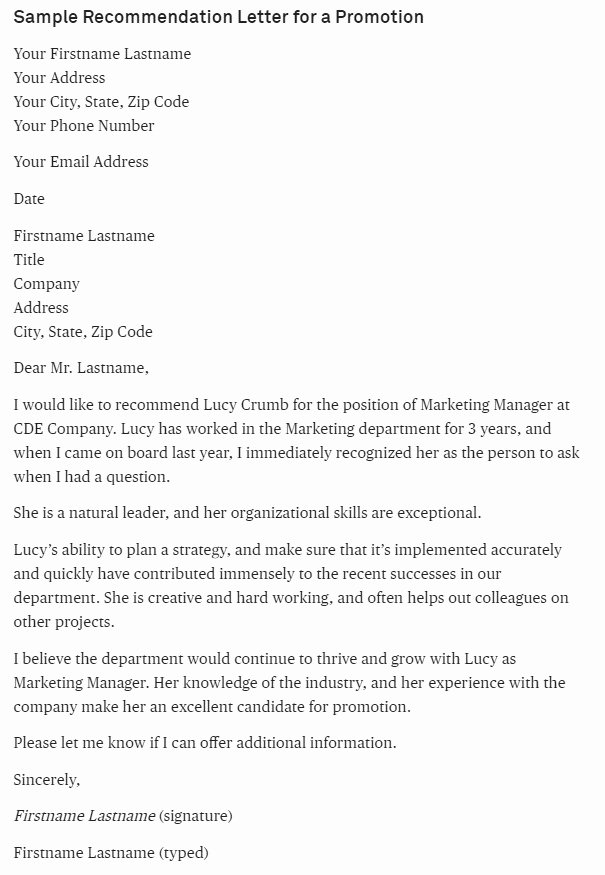 Sample Of Promotion Letters Inspirational Sample Letter Of Re Mendation for A Promotion