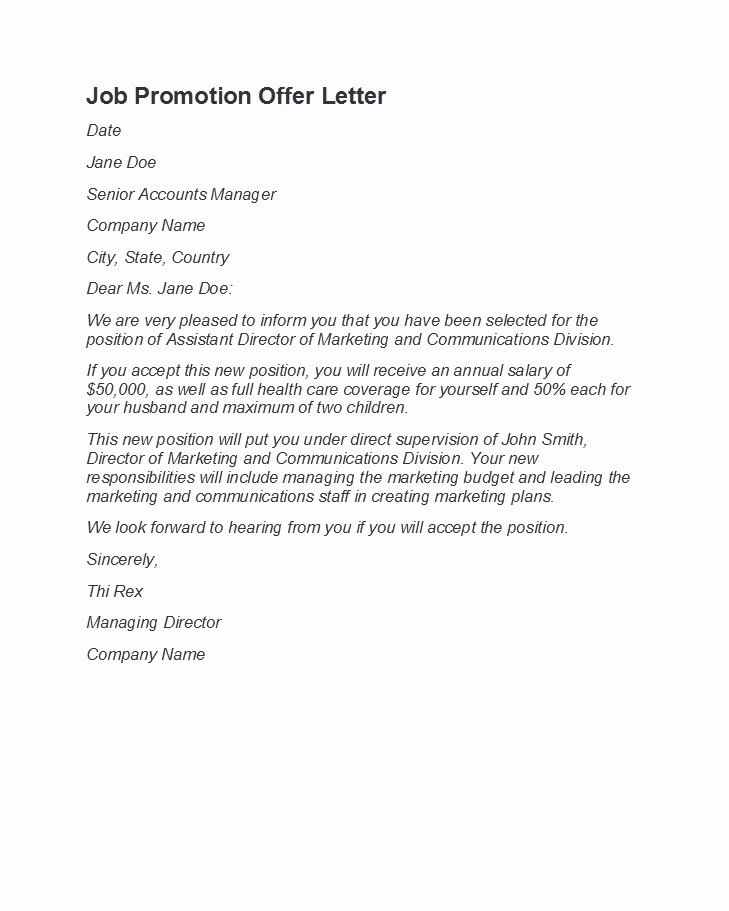 Sample Of Promotion Letters Luxury 50 Job Promotion Letters Free Templates Template Lab