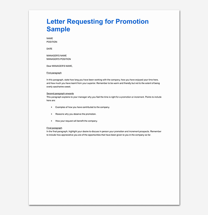 Sample Of Promotion Letters New Promotion Request Letter 12 Sample Letters & format