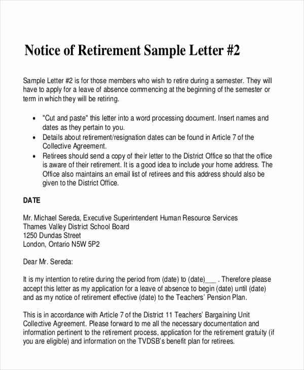 Sample Of Retirement Letter Elegant Letters In Pdf