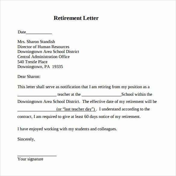 Sample Of Retirement Letter Fresh Retirement Letter 17 Download Free Documents In Pdf Word