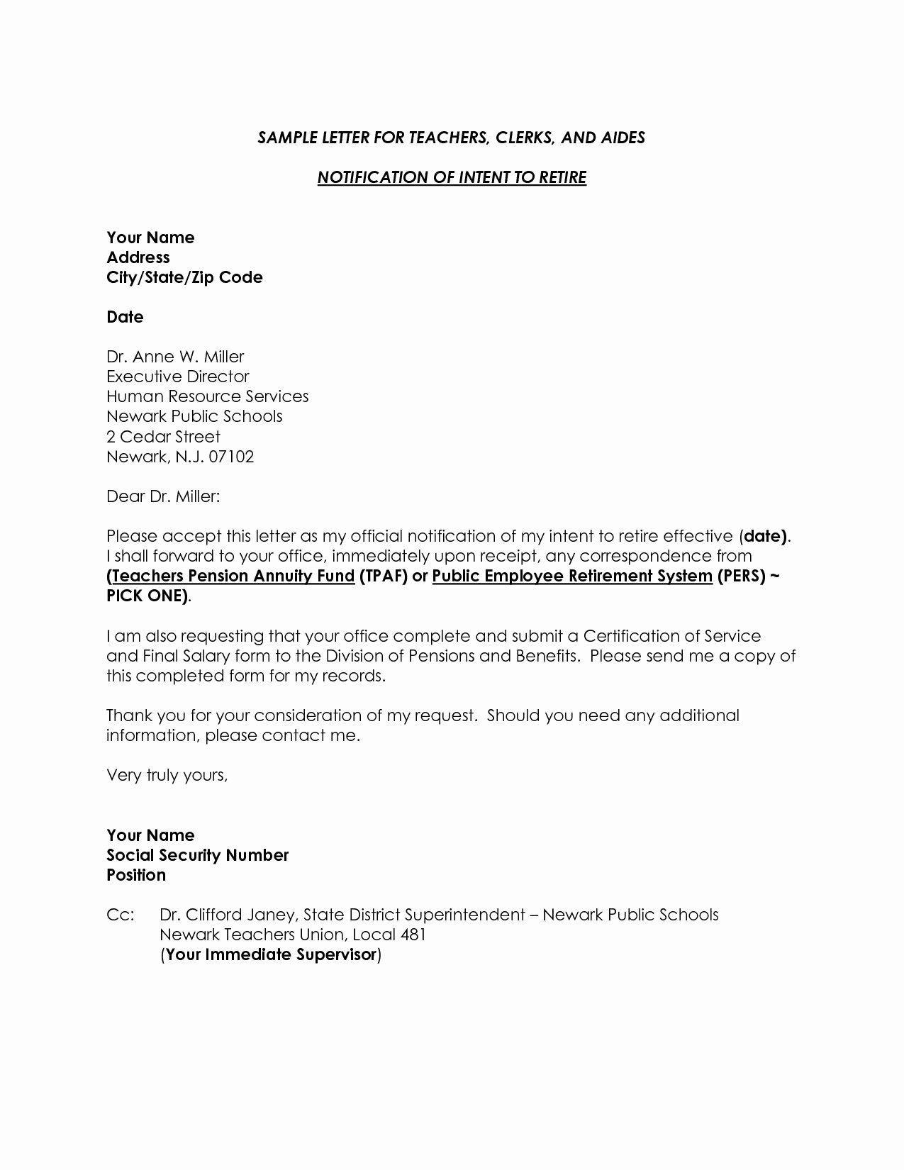 Sample Of Retirement Letter Fresh Retirement Letter to Employer Template Samples