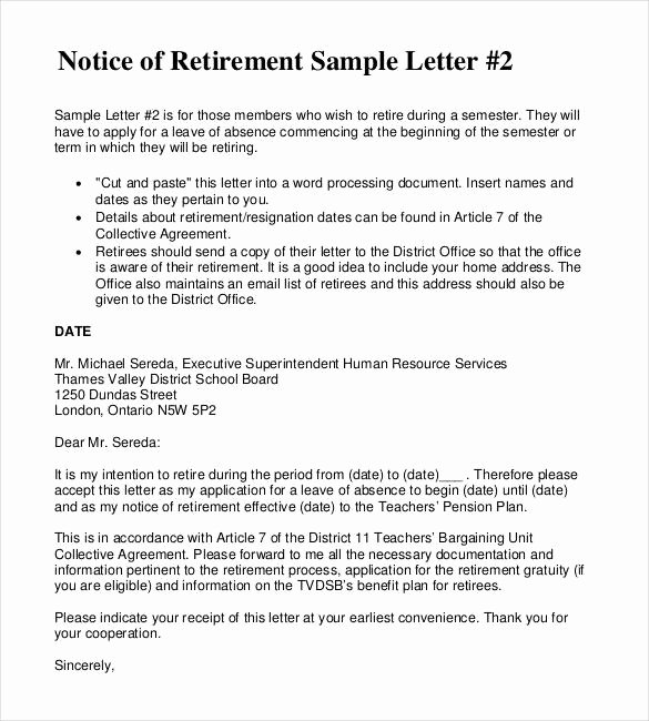 Sample Of Retirement Letter New 2 Retirement Letter to Employer Pdf