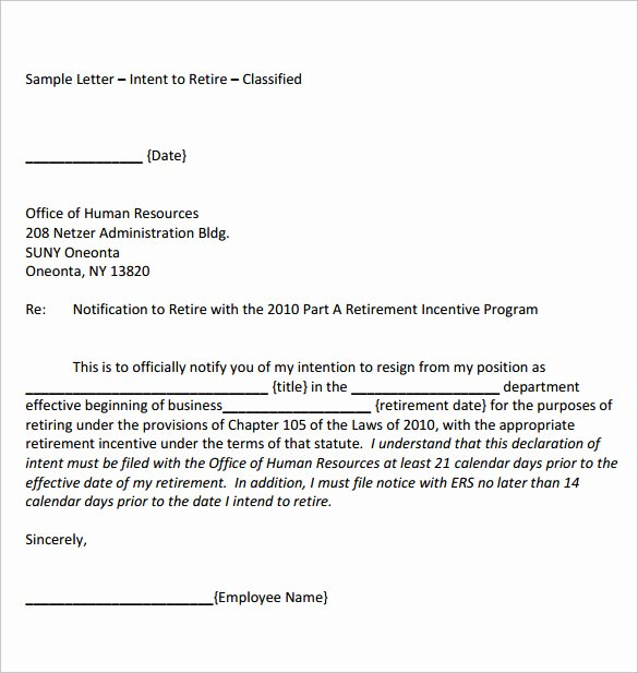 Sample Of Retirement Letter New Download formal Retirement Letter Template Free