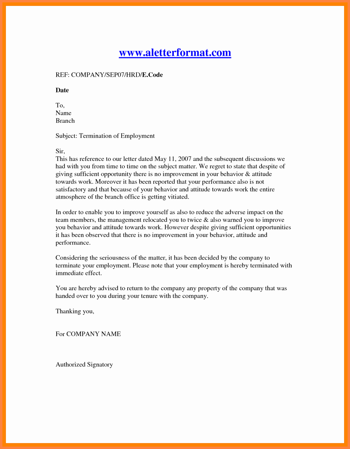 Sample Of Termination Letter New 11 Employment Termination Notice Sample