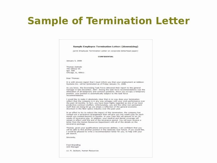 Sample Of Termination Letter New Termination Letter