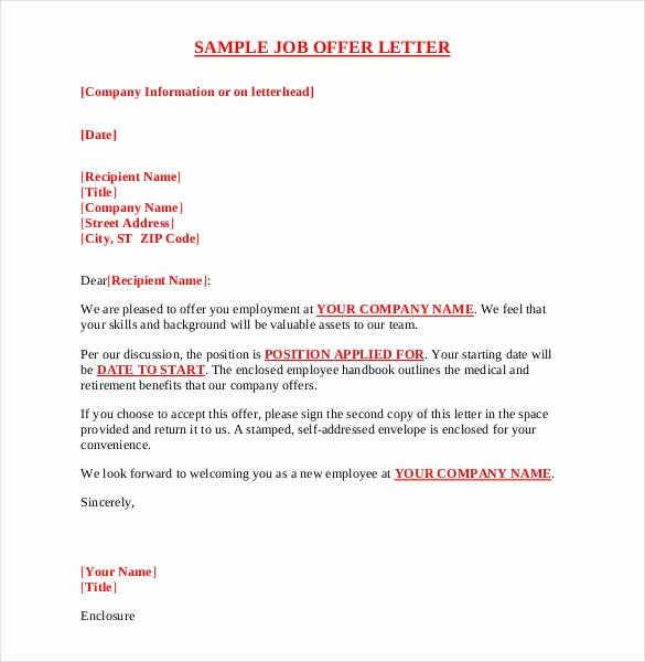 Sample Offer Letters for Employment Luxury 75 Fer Letter Templates Pdf Doc