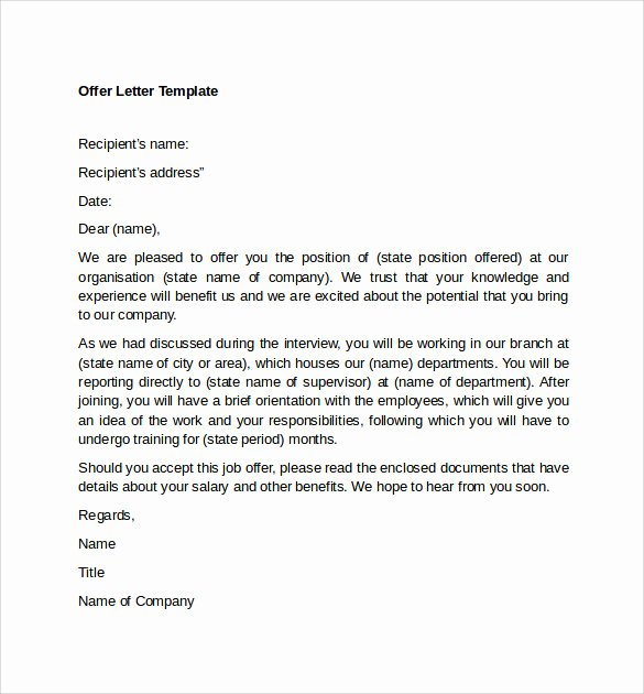 Sample Offer Letters for Employment New Sample Fer Letter Template 14 Free Examples format