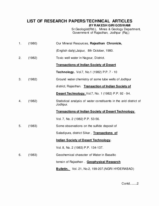 Sample Outlines for Research Papers Luxury List Of Research Papers