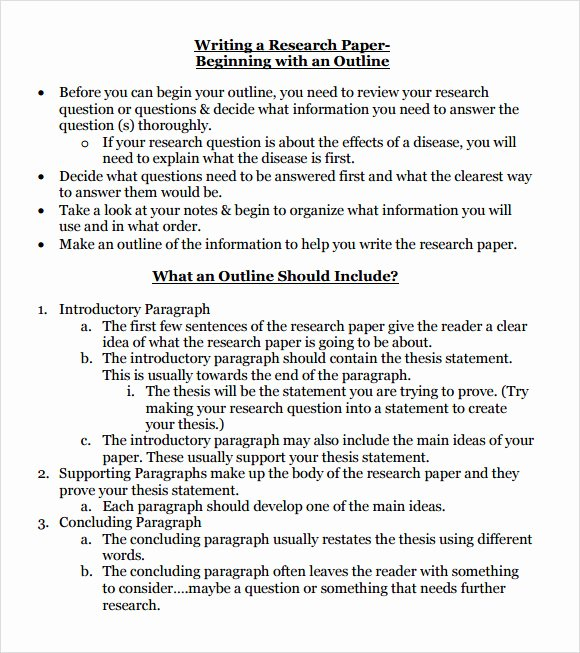 Sample Outlines for Research Papers New 10 Sample Research Paper Outline Templates to Download