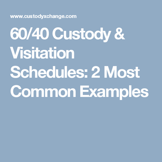 Sample Parallel Parenting Plan Beautiful 60 40 Custody & Visitation Schedules 2 Most Mon