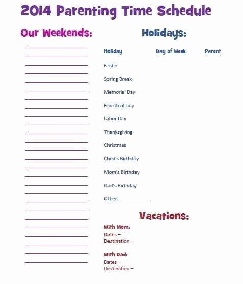 Sample Parallel Parenting Plan Best Of 7 Best Visitation Schedule Images On Pinterest