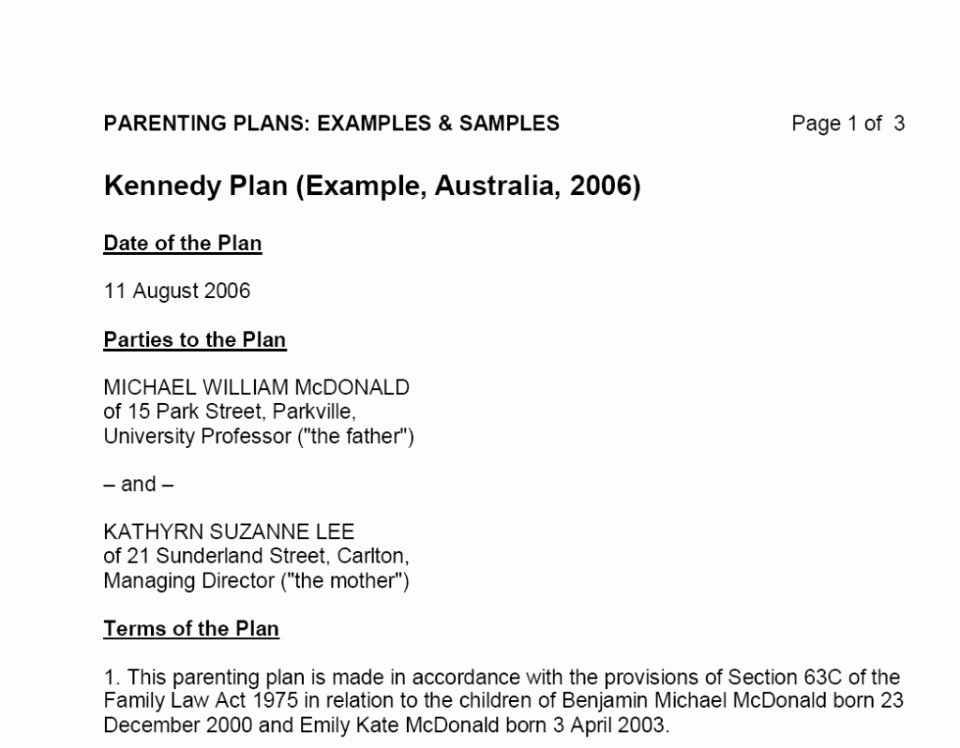 Sample Parallel Parenting Plan Elegant 005 Parenting Plan Template Australia Child Support