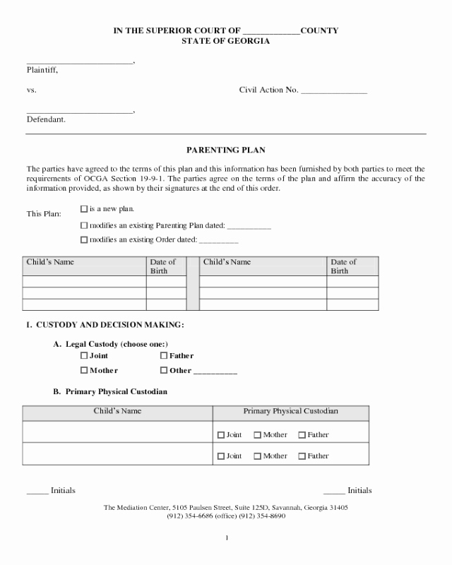 Sample Parallel Parenting Plan Fresh 2018 Parenting Plan form Fillable Printable Pdf & forms