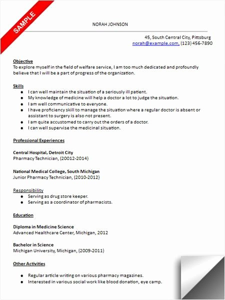 Sample Pharmacy Tech Resume Beautiful Pharmacy Technician Resume Sample