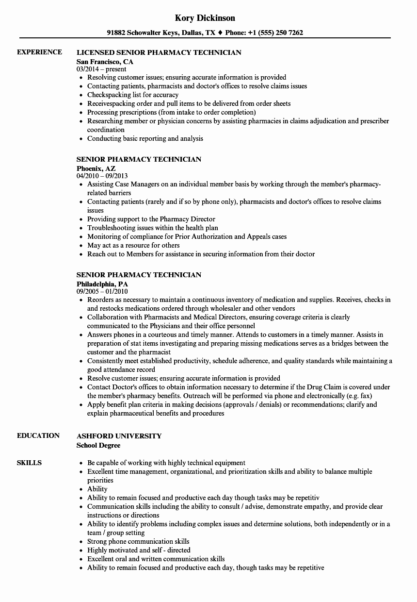 Sample Pharmacy Tech Resume Beautiful Senior Pharmacy Technician Resume Samples