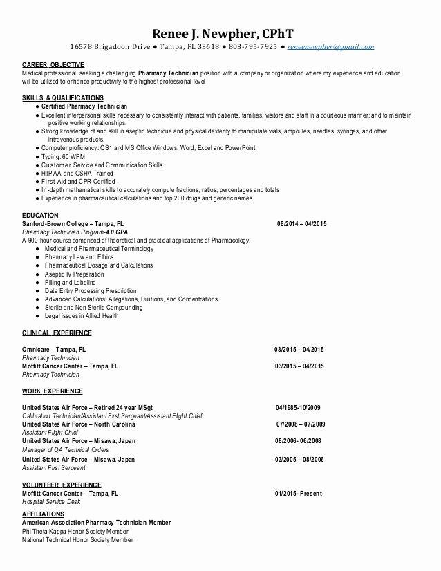 Sample Pharmacy Tech Resume Best Of Cpht Pharmacy Technician Resume 2015 Renee Newpher