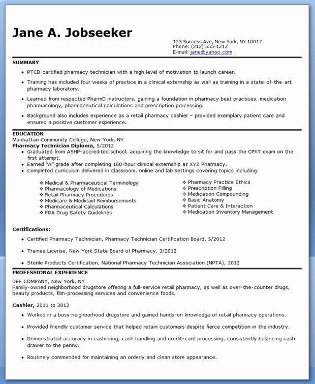Sample Pharmacy Tech Resume Best Of Pharmacy Technician Resume Sample No Experience