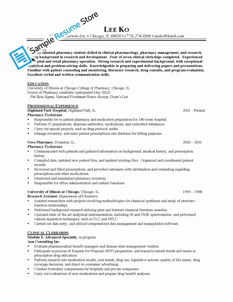 Sample Pharmacy Tech Resume Elegant Sample Resume for Pharmacy Technician