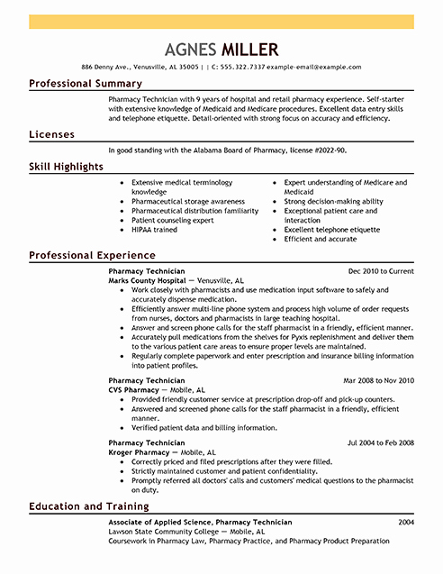 Sample Pharmacy Tech Resume Lovely Best Pharmacy Technician Resume Example