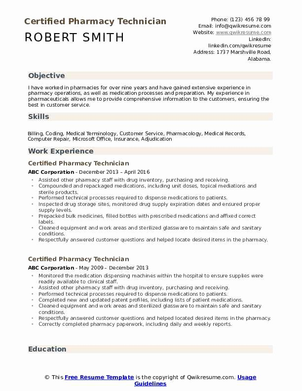 Sample Pharmacy Tech Resume Luxury Certified Pharmacy Technician Resume Samples