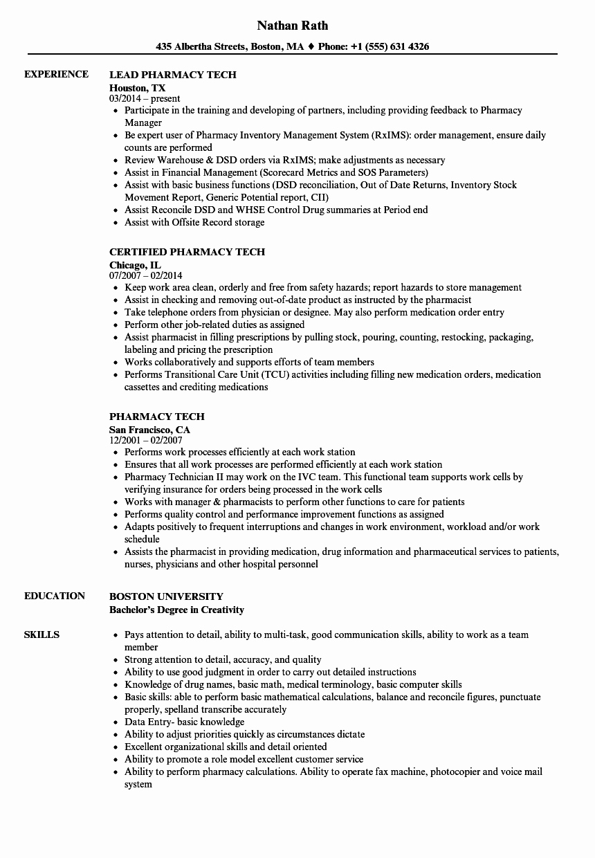Sample Pharmacy Tech Resume Luxury Pharmacy Tech Resume Samples