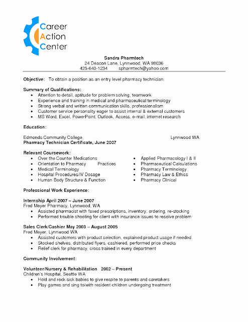 Sample Pharmacy Tech Resume Luxury Sample Of Pharmacy Technician Resume